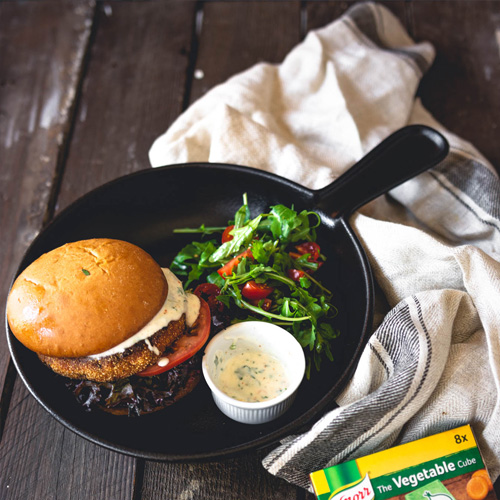 Vegan Burger made with sweet potato, sweetcorn and polenta