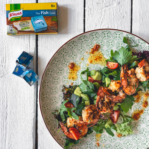 Prawn & Avocado Salad with a spiced tomato dressing